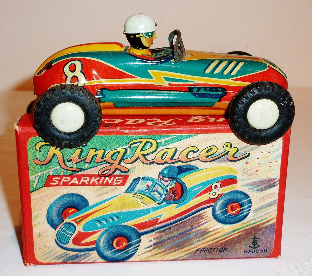 Car Auctions In Nj: Hadson Japanese Tin Friction Car, 1950s KING RACER With