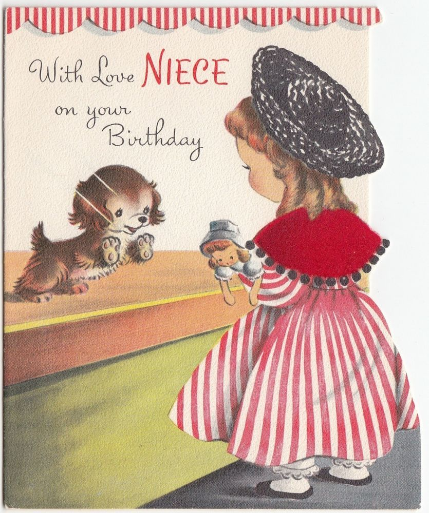 Vintage greeting card cute girl puppy dog in the window baby doll vintage greeting card cute girl puppy dog in the window baby doll 1950s norcross kristyandbryce Image collections