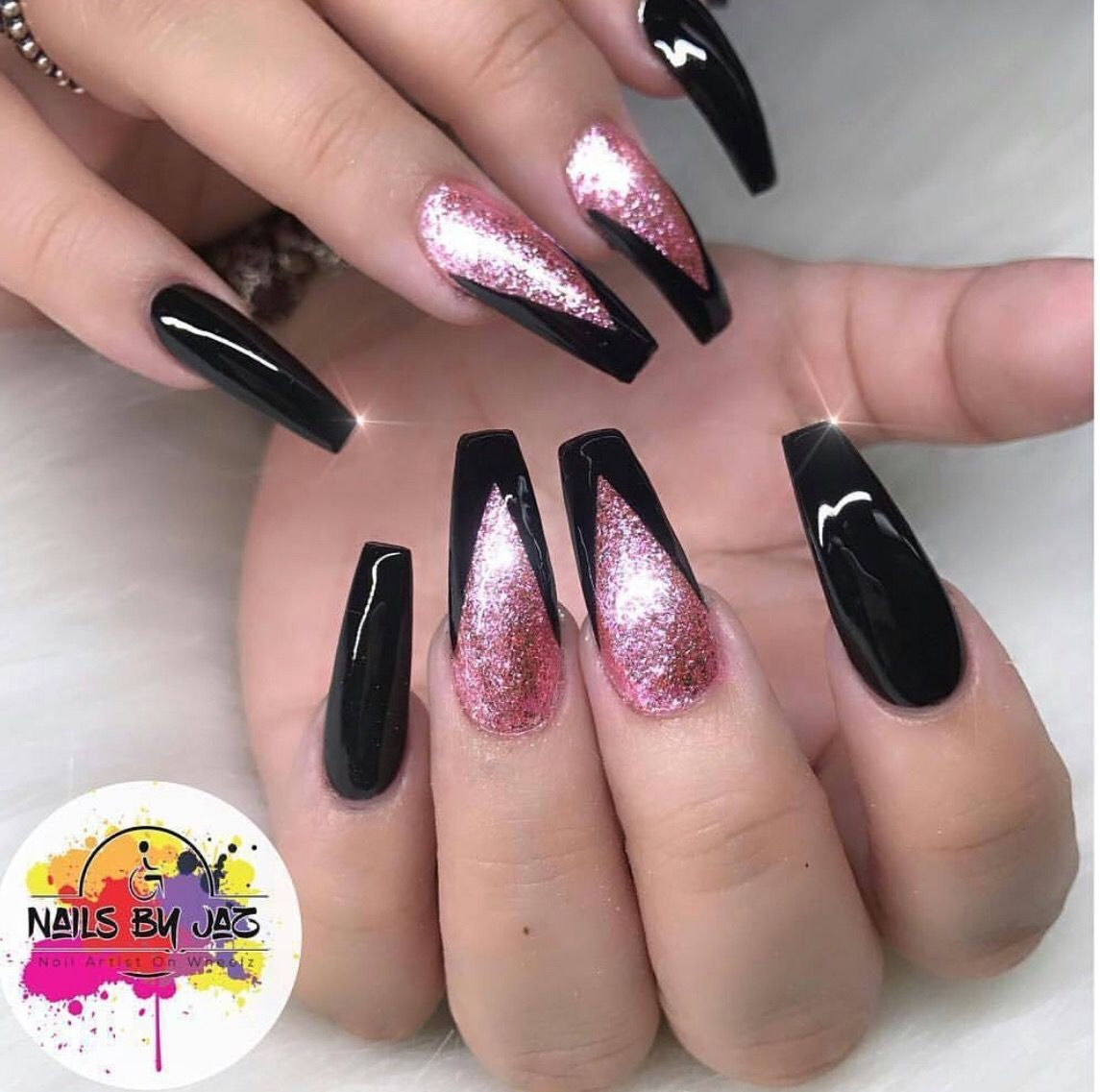 Black And Rose Glitter Coffin Nails Pink Black Nails Gorgeous Nails Nail Designs