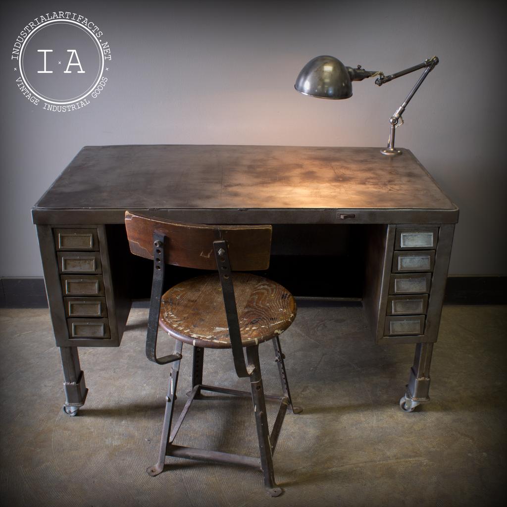 Unique Vintage Industrial Solid Steel Desk With Fostoria Lamp Cas