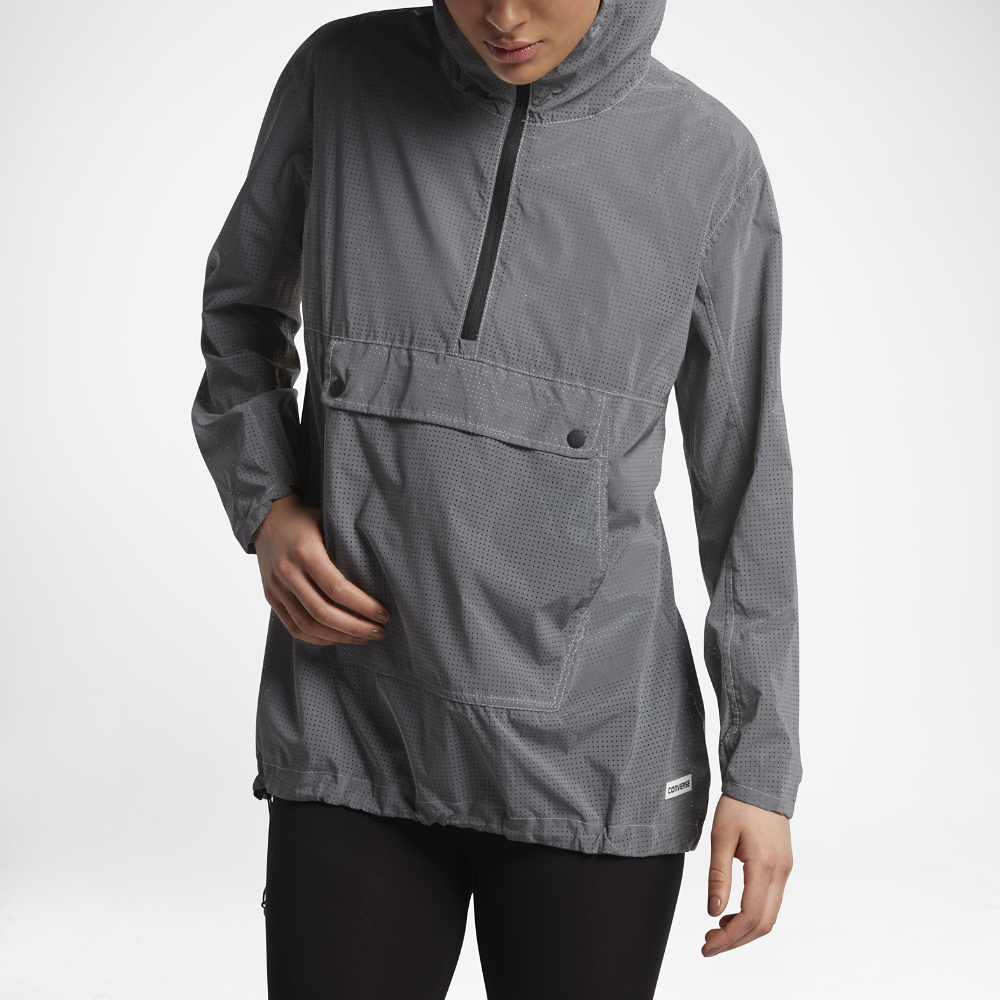 5705d8aa91762f Converse Lightweight Reflective Anorak Women s Packable Jacket Size Medium  (Silver)