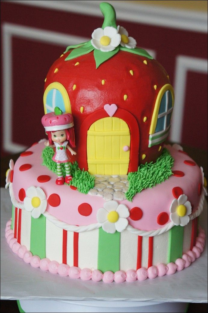 Fabulous Strawberry Shortcake Birthday Cake Designs Personalised Birthday Cards Cominlily Jamesorg
