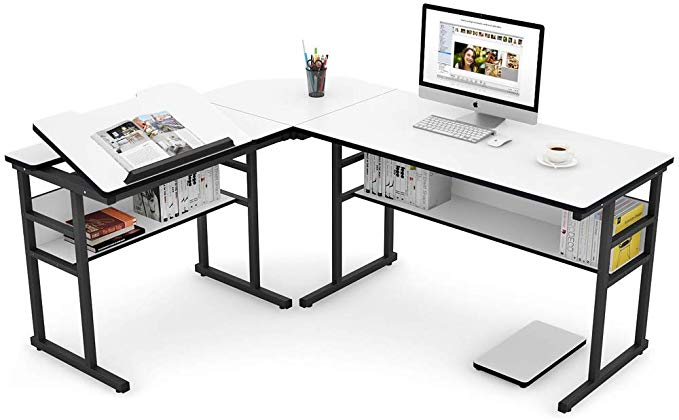 Amazon Com Tribesigns Modern L Shaped Desk With Bookshelf 67 Inch Double Corner Computer Office Desk Workst Modern L Shaped Desk Bookshelf Desk L Shaped Desk