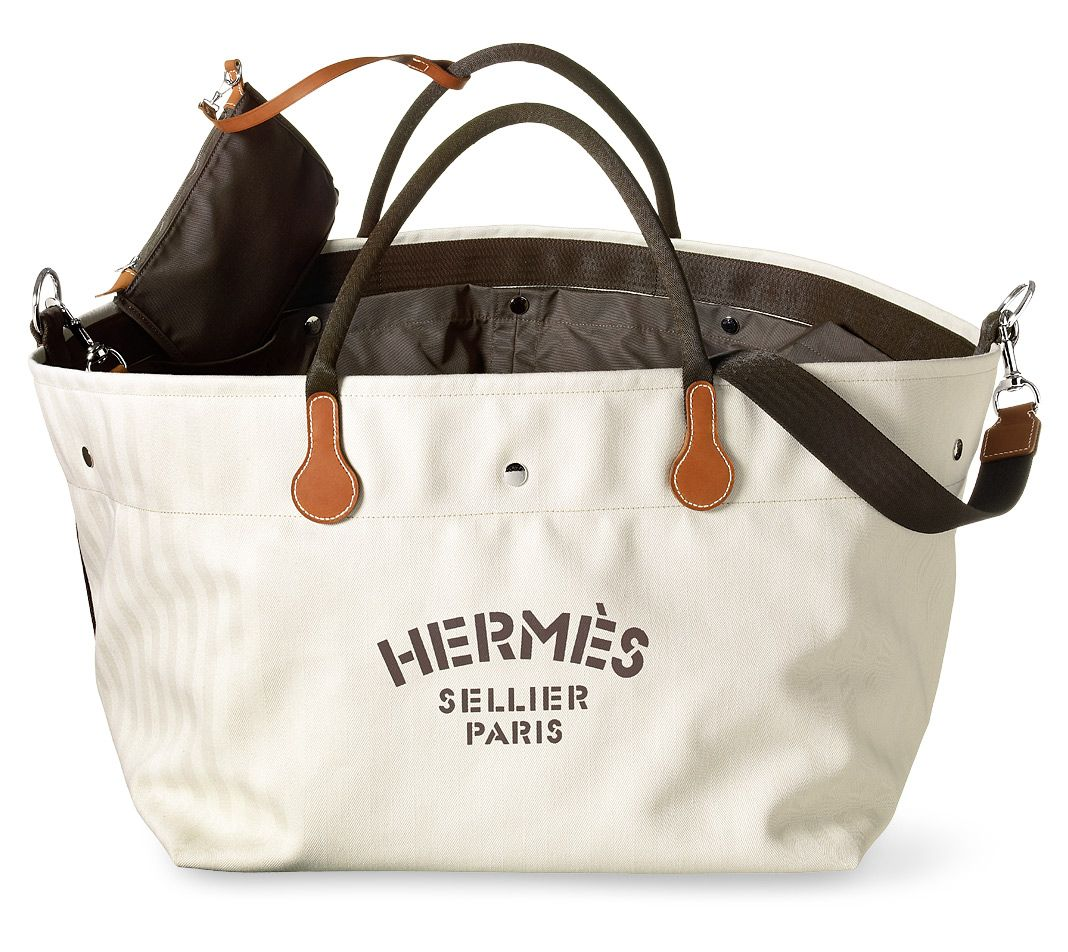 Hermes Equipment Bag For Riders Makes A Great Weekender Herringbone Canvas In Chalk 100 Cotton Polyamide Lining Gold Cowhide Leather Details