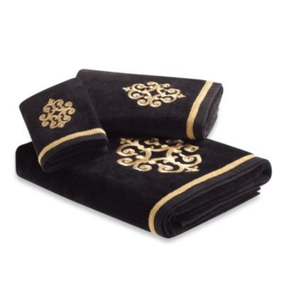 Bombay Sarto Bath Towels Gold On Black Design BedBathandBeyond - Black and gold hand towels for small bathroom ideas