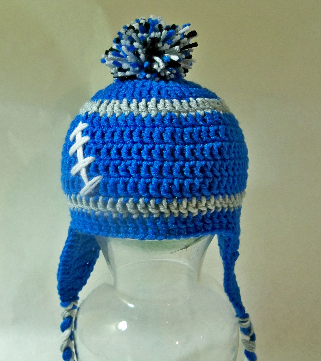 Crocheted baby toddler football beanie Detroit Lions 12-18 month size Any  team 8f25d84c56d0