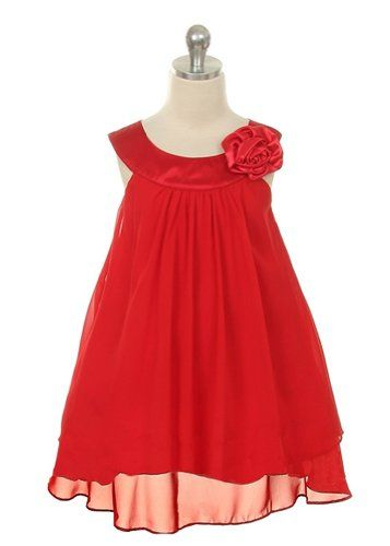 Kid's Dream Girl's Red Simple Chiffon Girl Dress-red-10 Kids Dream ...