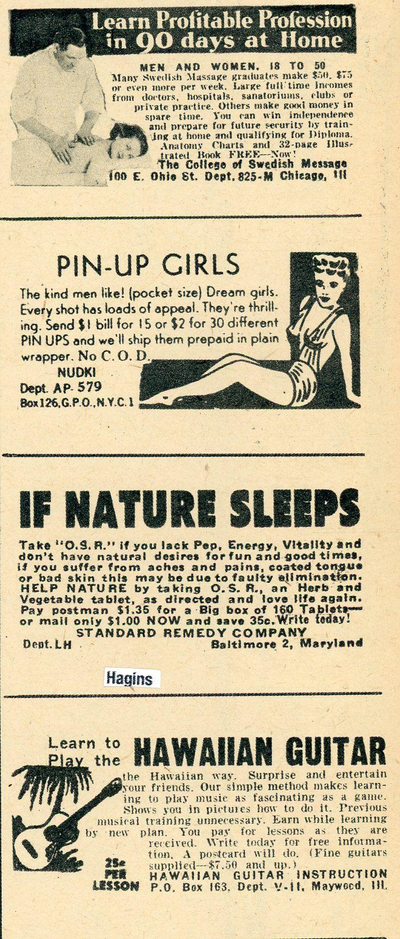 1948 ads. a tad weird. Hagins collection.