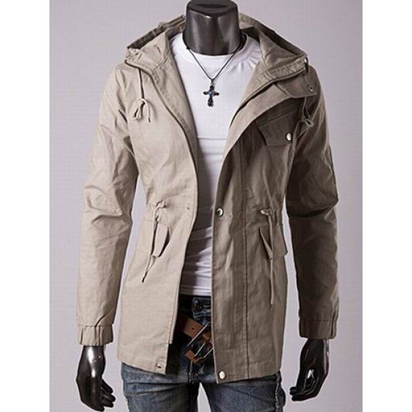 Casual Style Slimming Long Sleeves Hooded Solid Color Drawstring Design Waist Men's Cotton Jacket #jewelry, #women, #men, #hats, #watches, #belts