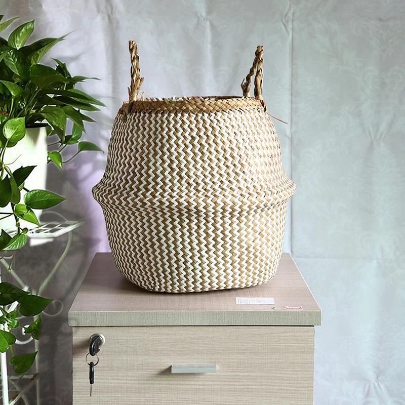 Rustic Rattan Sea Grass Flower Pots Storage Basket Natural