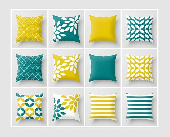 Throw Pillow Covers Mustard Yellow Teal White Accent Pillow Cover