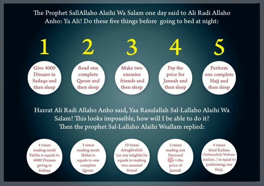 Do these five things before going to bed at night   Islamic