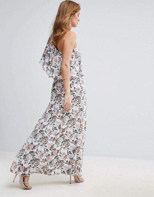 Swiss Floral One Shouldered Button Detail Dress - Multi Millie Mackintosh EMp3NoVWU
