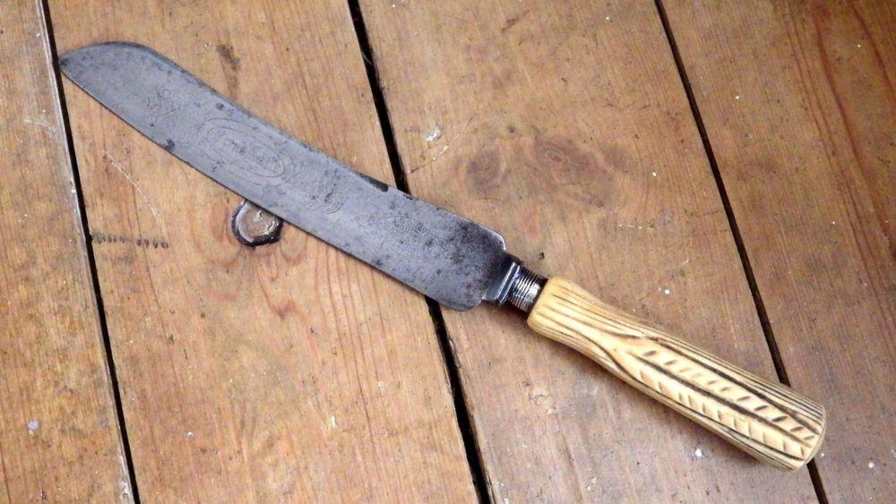 Antique 19th Century Carved Bone Handle Bread Knife Bread Knife Bone Carving Knife