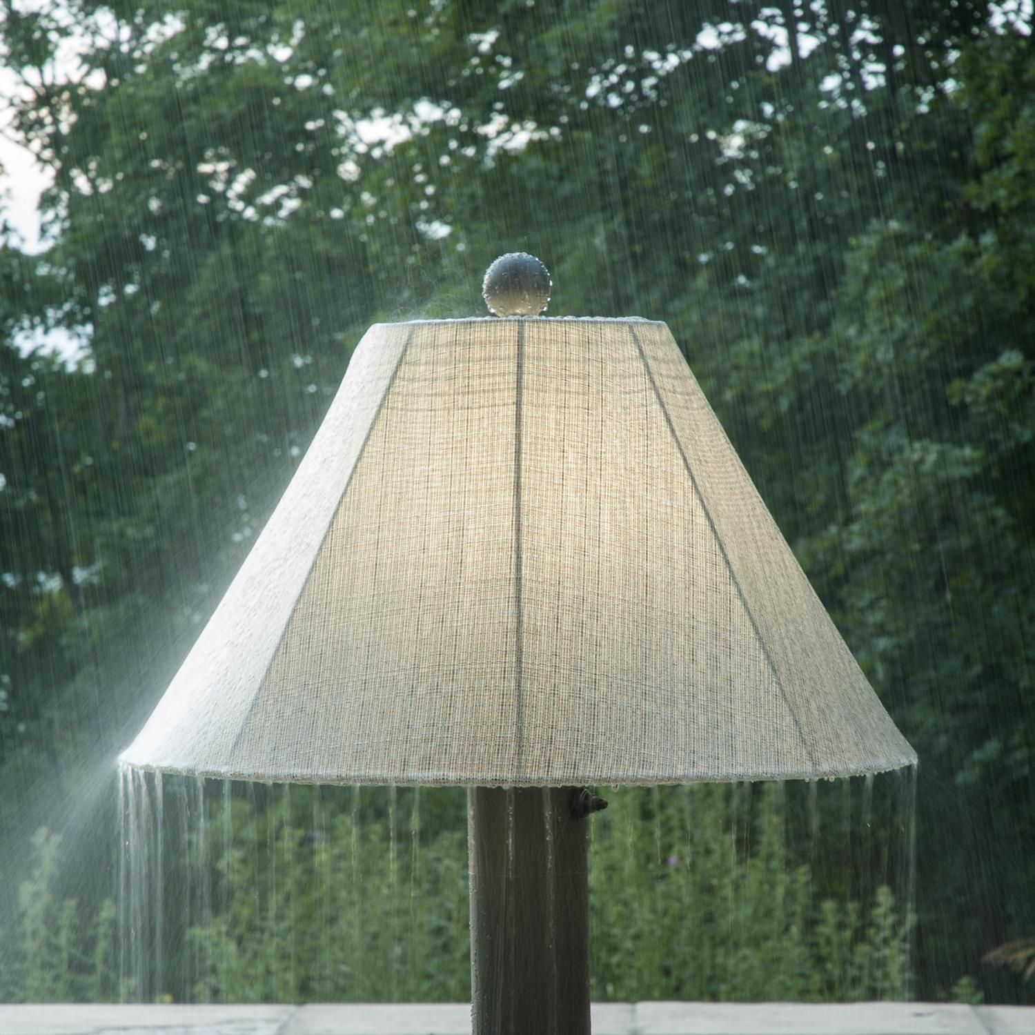 Patio Living Concepts Catalina Ii 63 1 2 Inch Outdoor Floor Lamp With Table Bronze Sunbrella Fabric Shade Shown In Rain