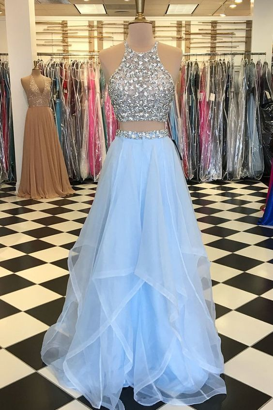 Light Blue Tulle Prom Dress 2 Pieces Halter Neck Crystals Women Party Dress