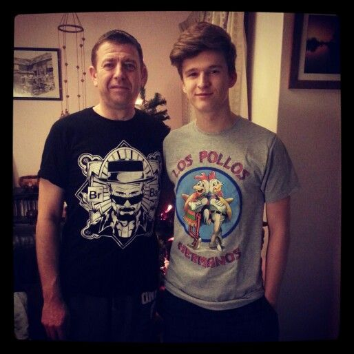 The boy and I, Christmas Day in our new tshirts. #christmas #christmasday #breakingbad #tshirts #heisenberg #lospolloshermanos