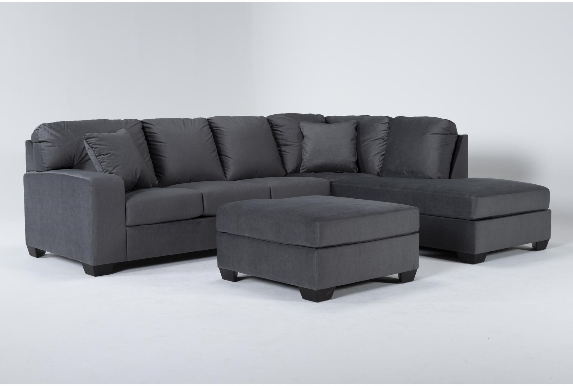 Romy Graphite 2 Piece Sectional With Right Arm Facing Chaise Ottoman In 2021 2 Piece Sectional Sofa Sectional Sectional Sofa
