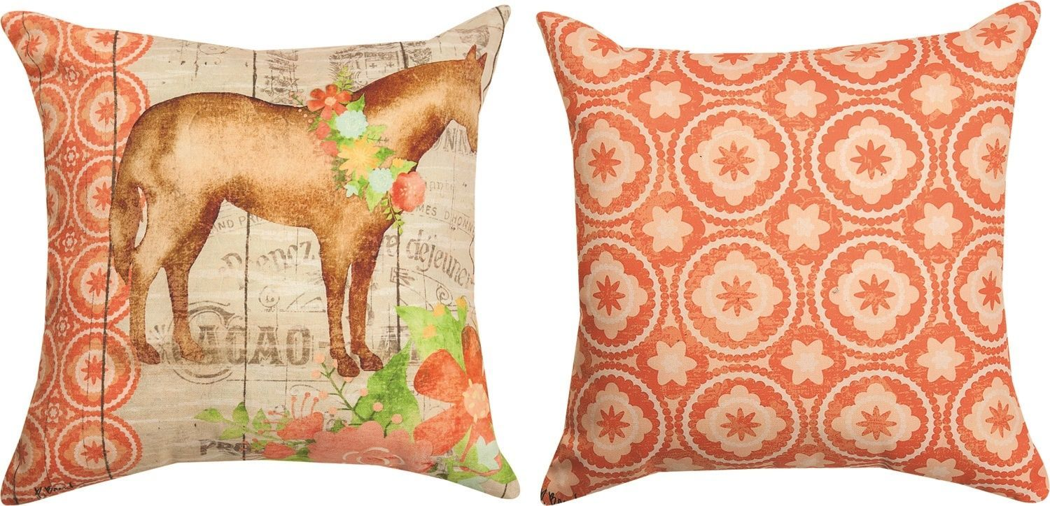 Nwt Farm Floral Horse Pillow Climaweave Indoor Outdoor Fabric Made In Usa Throw Pillows Pillows Horse Pillow