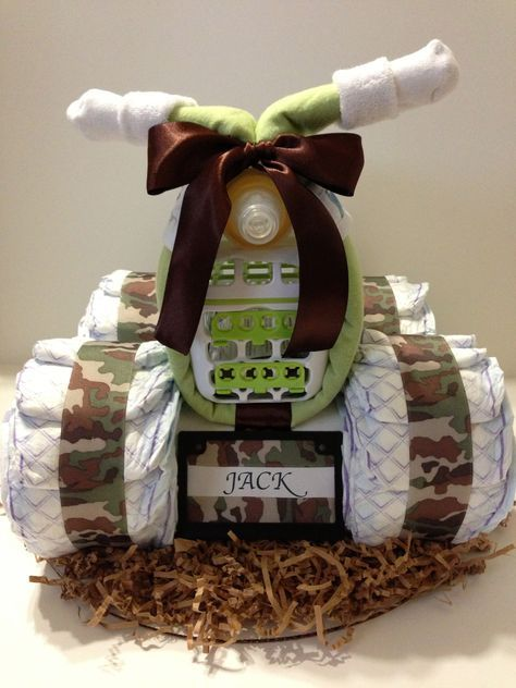 Luv My Camouflage 4 Wheeler Diaper Cake with personalized license plate #diaper #cake #camo #diapercake #4wheeler #babyshower #quad #atv #hunter #deer #babyshower centerpiece #decoration #mossyoak #camouflage