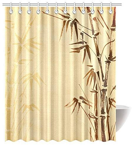 Amazon Com Bamboo Decor Shower Curtain Abstract Tree And Bamboo Pattern Design Shower Curtains Bathroom Decor Wi Bamboo Decor Curtains Plastic Shower Curtain