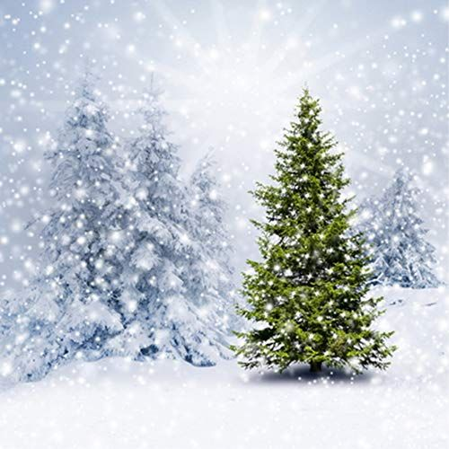 Dobeans Outdoor Christmas Backdrop 10x10ft Winter Snow Backgrounds for Photography Seamless Christmas Tree Chalet Vinyl Christmas Photo Backdrop Booth Props for Family Children Holiday Photography