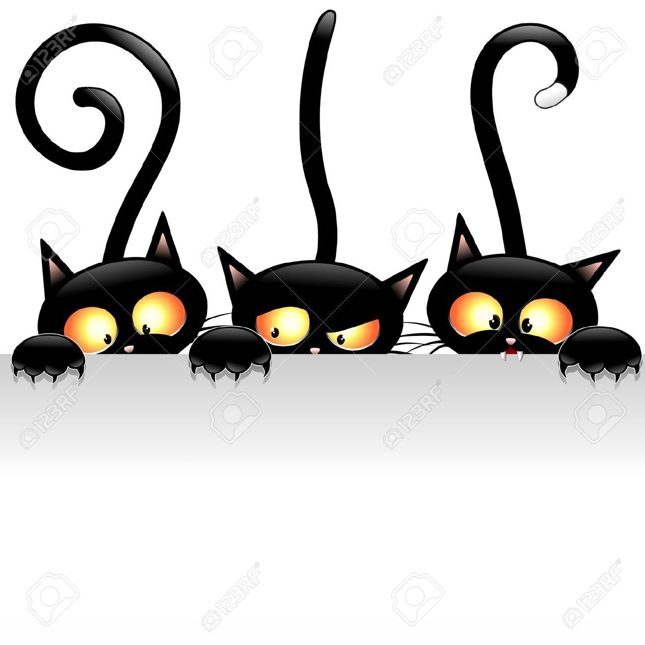 Funny Black Cats Cartoon with White Panel · Chats NoirsChats DrôlesPattes