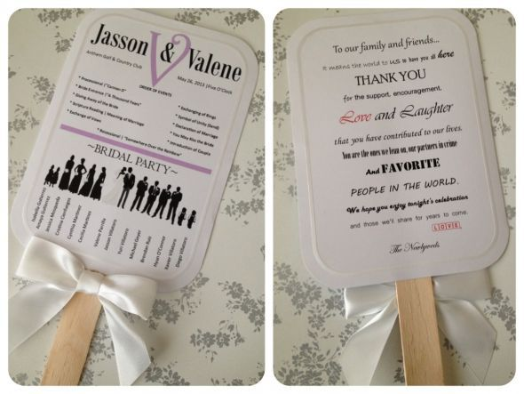 My DIY Bridal Party Silhouette Program Paddle Fans Wedding Silhouettes Ceremony Diy