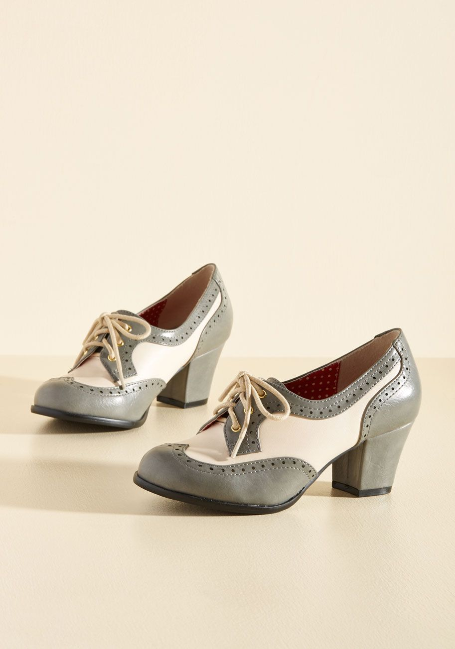 40951883193a8 Oxford Comment Heel in Stone. Classic, charming, and endlessly cool - these  brogues by B.A.I.T. #grey #modcloth