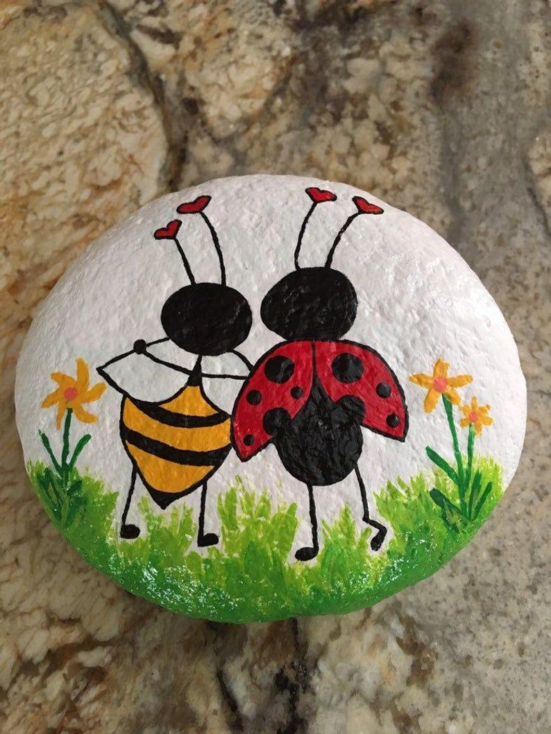 Ladybug & Bumblebee Besties! Hand painted Rock.