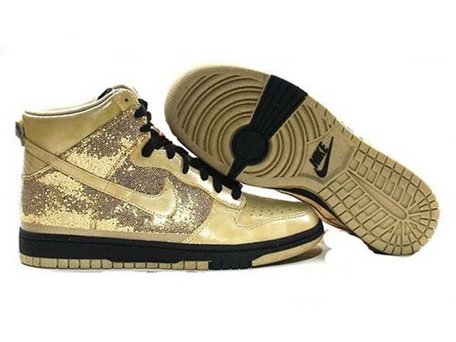 Dunk High Gold Schwarz Damen Sneaker Schuhe Want Its
