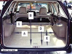 2001 Outback Cargo Dimensions. Note the rear strut ...