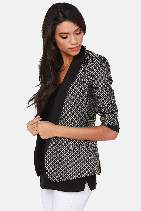 b99ffdefc963e BB Dakota Harriet Black Brocade Boyfriend Blazer | Splargin ...