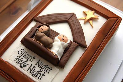 Silent Night nativity Christmas cake