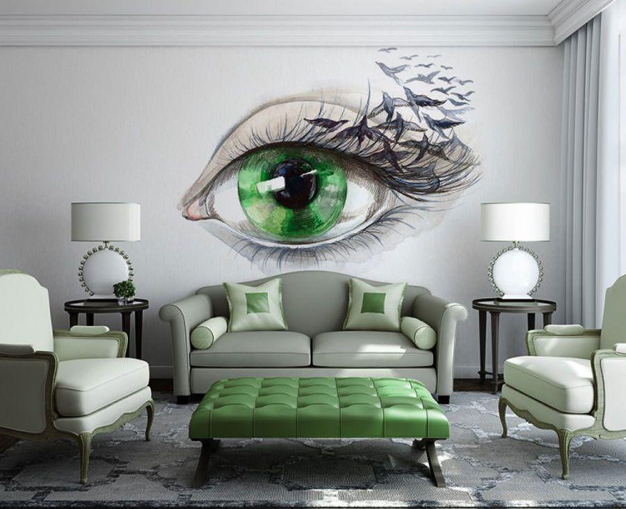 70 spettacolari disegni murali per decorazioni di interni for Decorazioni per pareti soggiorno