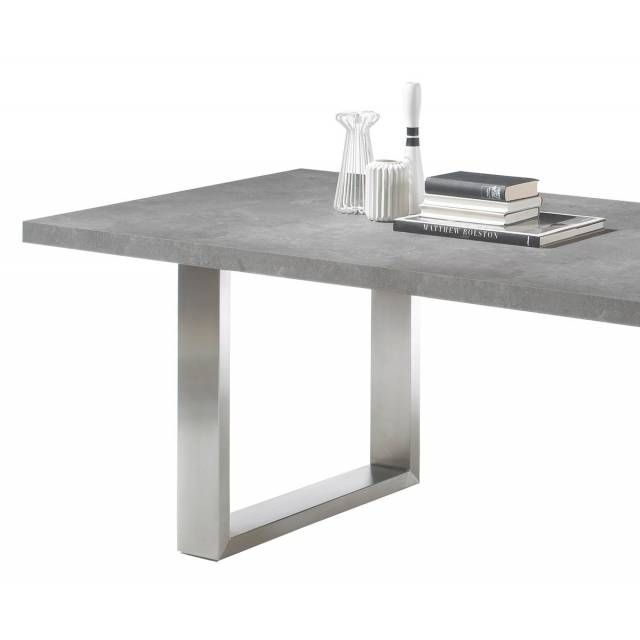 Esstisch Sukita 220x100 Beton-Optik Standbeine Edelstahl - DeLife - edelstahl outdoor küche