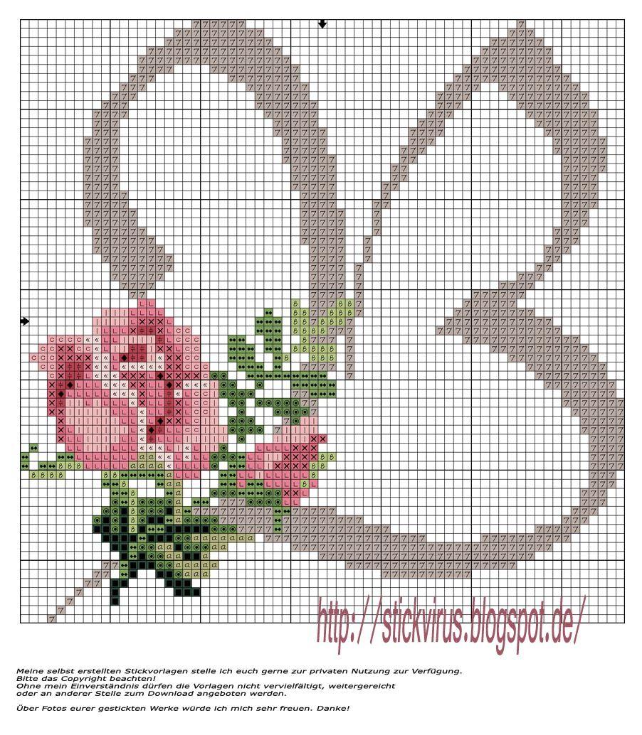 meine Freebie\'s: Rosen-B | Cross stich - Kreuzstich | Pinterest ...