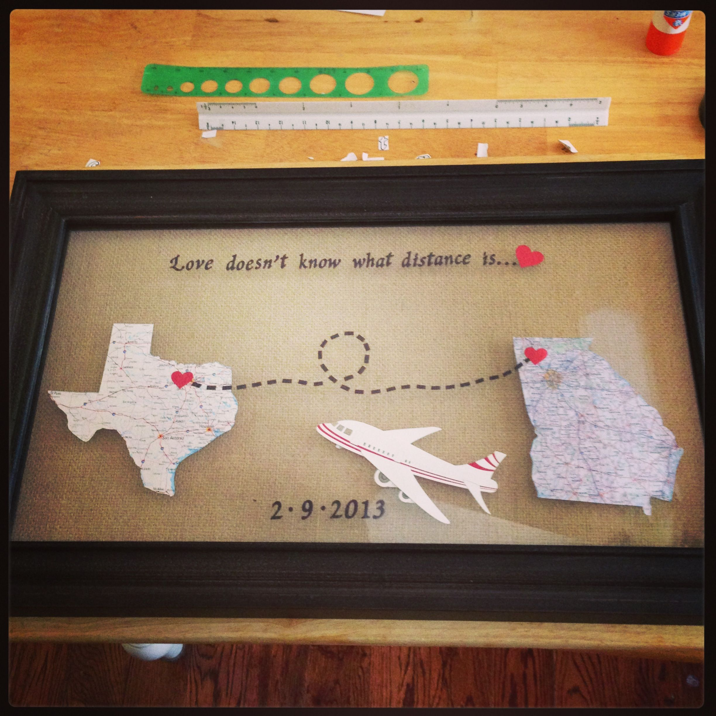 From Texas To Germany Distance Means So Little When You Me Long Distance Relationship Gifts Distance Relationship Gifts Long Distance Relationship Diy Gifts