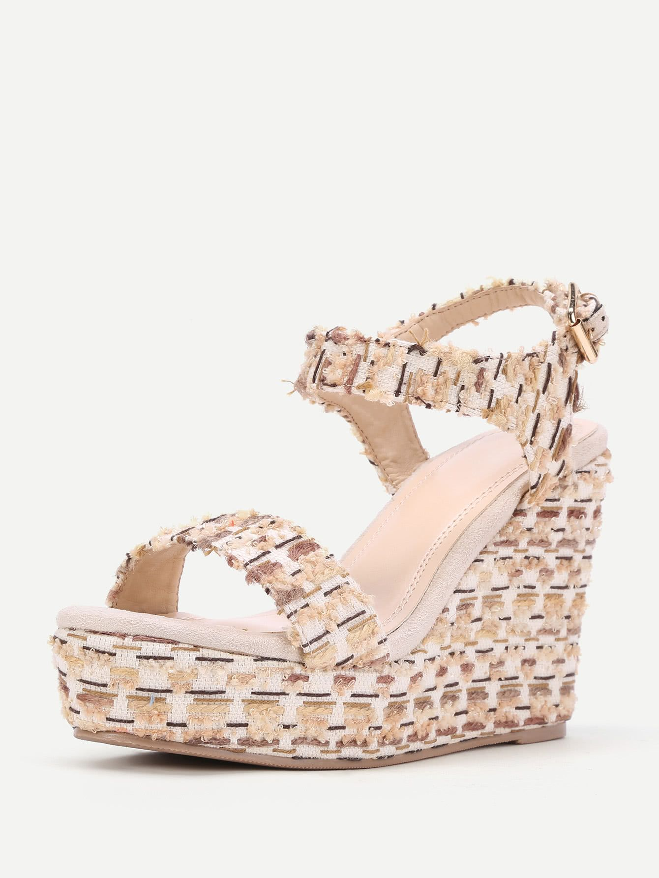 ed7eec0844313 Shop Mixed Pattern Platform Wedge Sandals online. SheIn offers Mixed  Pattern Platform Wedge Sandals   more to fit your fashionable needs.