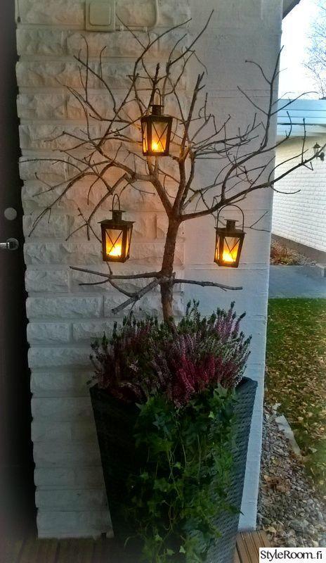Photo of autumn flower arrangements terrace flowers lantern sparkling- autumn flower#Outd…