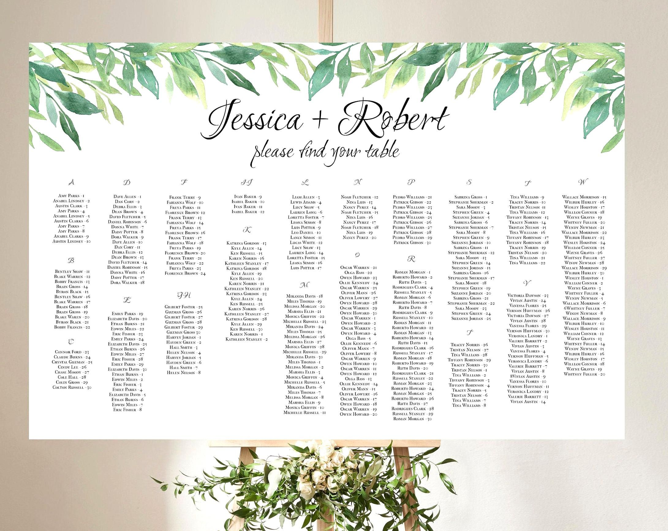 350 Names Alphabetical Seating Chart Landscape Wedding Seating Chart Large Seating Char In 2020 Seating Chart Wedding Seating Chart Template Alphabetical Seating Chart