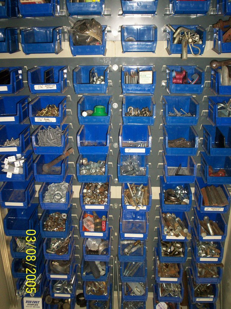 nut & bolt storage bins good idea but needs to be placed so that