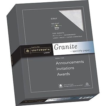 "Southworth Resume Paper Southworth Granite Specialty Paper 85"" X 11"" 24 Lb Smooth"