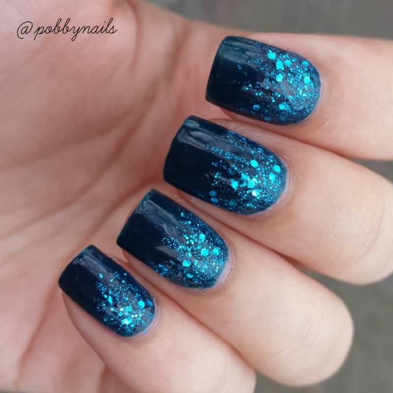 Blue Glitter Gel Nail Art Design For Prom Jpg 800 800 Blue Nail Art Designs Blue Glitter Nails Blue Nail Designs