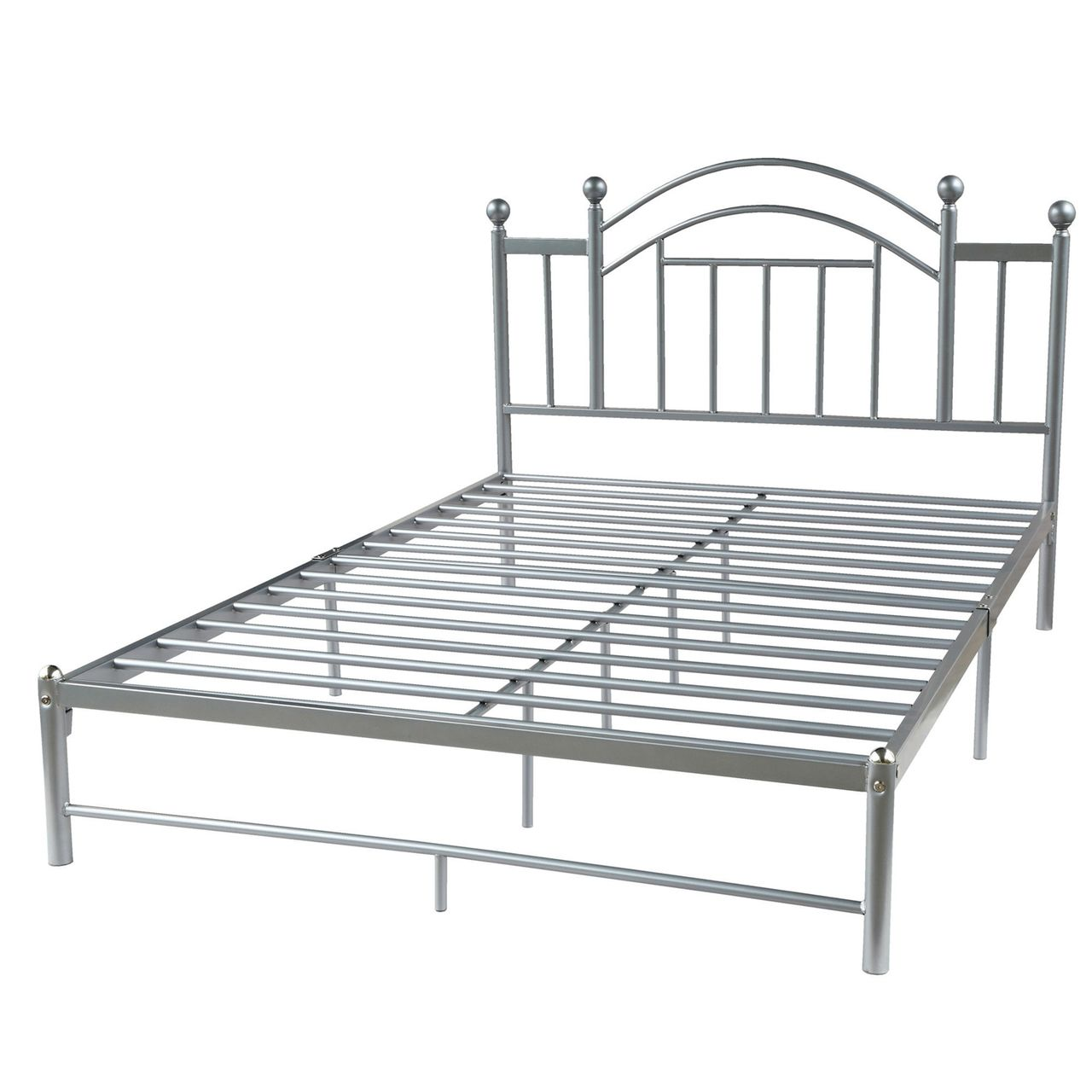 Queen Size Metal Platform Bed Frame With Headboard In Silver