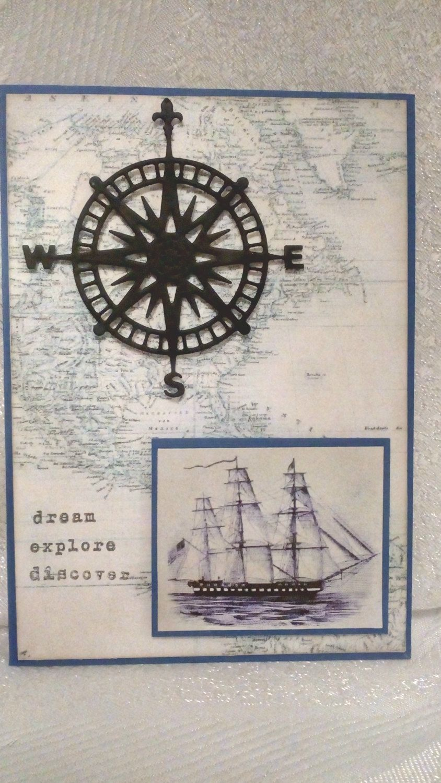 Travel birthday card vintage map greeting card travel card travel birthday card card for traveler handmade greeting card sailboat card compass kristyandbryce Image collections