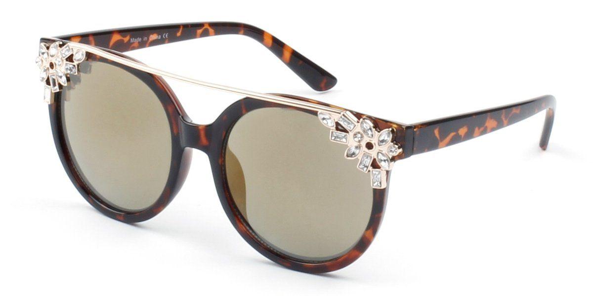 94fb56e58ce1a Women Circle Round Brow-Bar Rhinestone 100% UV Protection Cat Eye Fashion  Sunglasses. Durable And Cute