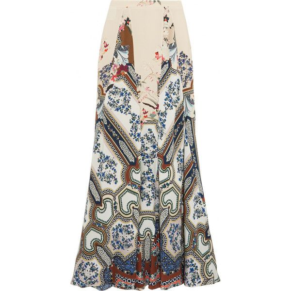 Etro Printed silk maxi skirt featuring polyvore, women's fashion, clothing, skirts, blue, blue floral skirt, silk maxi skirt, blue maxi skirt, long blue skirt and floral print maxi skirt