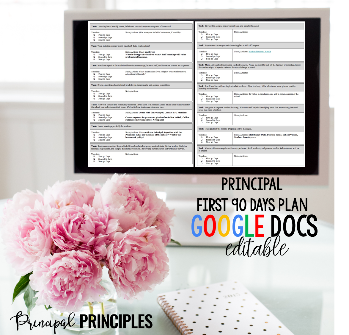 Principal Entry Plan First  Days Google Docs Editable