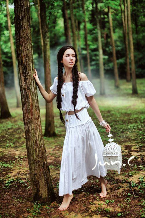forest girl barefoot